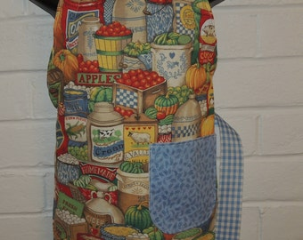 REVERSIBLE Child Vermont Country Store Blue Gingham Cooking Apron / Art Smock fits size 3, 4, 5, 6 and 7 kids kid pocket