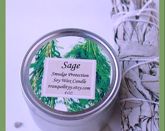 Sage 4 oz Candles , 4OZ Candles, SAGE , Purification  Smudge Cleansing, Protection,  Negativity Gone, By: tranquilityy
