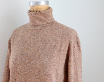 taupe speckled Italian wool turtleneck sweater - ladies turtleneck sweater / vintage wool sweater - Italy sweater / vintage Talbots sweater