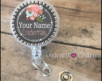 gray floral2..Personalized retractable badge reel pinch...nurse.labor and delivery..lpn..rn..md..id holder..lanyard..bottlecap jewelry