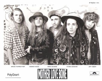 Vintage 1990 Mother Love Bone Band Black and White Promo Press Photo Pearl Jam Temple of the Dog Vintage 1990s 90s Seattle Grunge Andy Wood