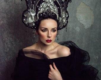 Black and Silver 'Dark Moon' Beaded Couture Kokoshnik Gothic Headdress