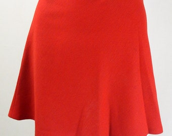 Original 1960s Vintage Bright Red Mini Skirt UK Size 8