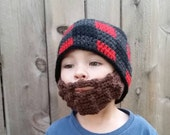 Lumberjack Beard Beanie,baby  flannel hat, gingham, custom size and color, beard hat