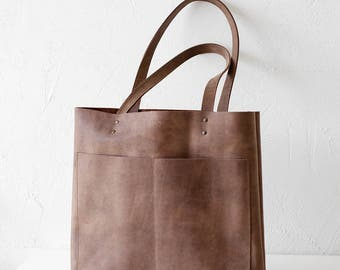 Xmas in July SALE Brown Distressed Leather Tote bag No. LPB-1013