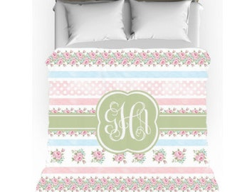 Personalized/ Monogram Bedding - Shabby Chic Personalized Comforter w/matching pillow case - Dorm Bedding - Personalize with Name / Initials