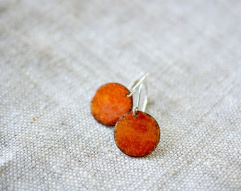 Small enamel earrings - bright orange earrings - sterling silver earwire - artisan jewelry by Alery
