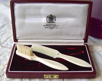 Vintage Mustache Comb Brush Original Box Asprey London Mens Grooming Set Gentleman's Comb & Brush Vintage 1960s