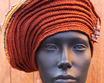 Big Brown Earthy-Colored Crochet Hat with a Little Rabbit Pin...