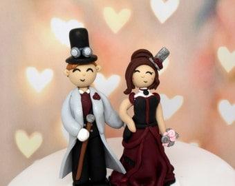 Steampunk Wedding Cake Topper Custom Cake Topper Wedding Decor Geek Wedding Topper Groom's Cake Rehearsal Dinner Decor Bridal Shower