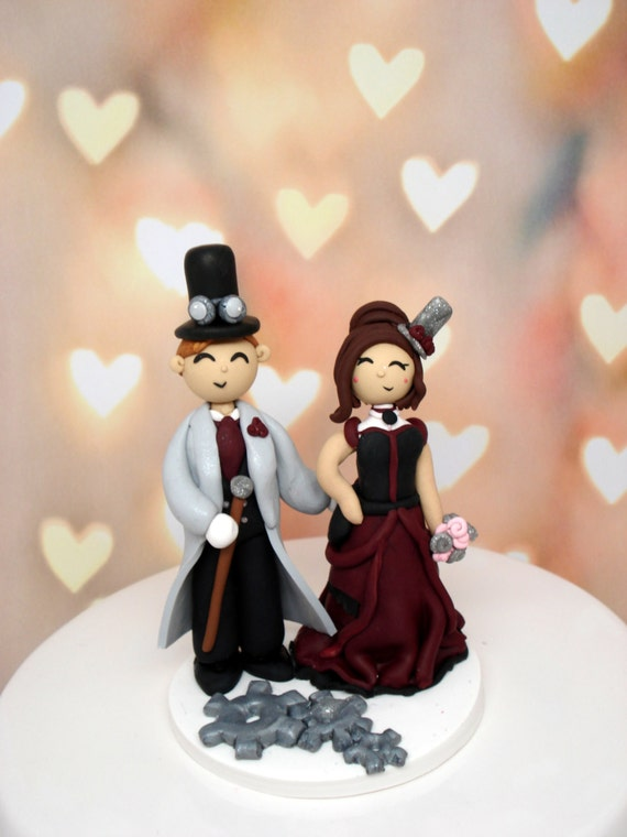 Steampunk Wedding Cake Topper Custom
