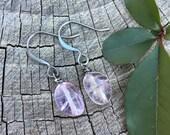 Lavender Amethyst Gemstones . Earrings