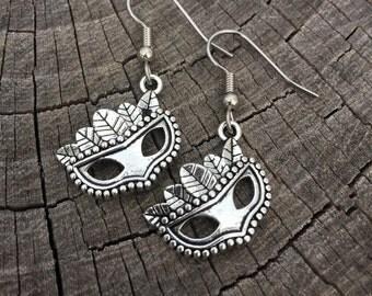 Silver Mardi Gras Masks . Earrings . Fleur De Lis Collection