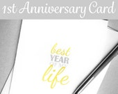 Printable First Anniversary Card. Instant Download One-Year Anniversary Card. 1st Anniversary Card. Paper Anniversary. Best Year of My Life.