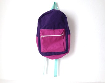 vintage RAINBOW color block 80s nylon BACKPACK back to school bag book bag