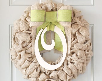 Summer Wreaths For Front Door Wreaths, New Baby Wreath With Initial Wreaths For The Door, Summer Monogram Wreaths - Essential Wreath