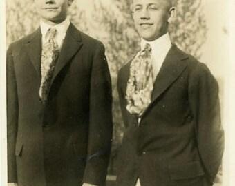"Vintage Photo ""Johnny and Joey"" Snapshot Antique Photo Old Black & White Photograph Found Paper Ephemera Vernacular - 14"