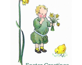 Easter Greeting Card - Boy with Daffodils and a Baby Chick - Vintage Style Repro