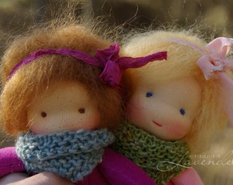 Lisa  Natural Fibers Doll Waldorf Inspired Doll by Atelier Lavendel Pocket Doll Cuddle Doll 7in OOAK doll soft toy ECO friendly