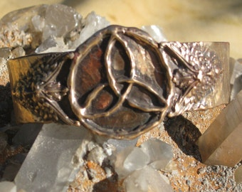 Celtic Triquetra Bracelet with Green Man in Bronze.Biker Bracelet.Bronze Bracelet.Medieval Bracelet.Celtic Bracelet.Green Man Bracelet