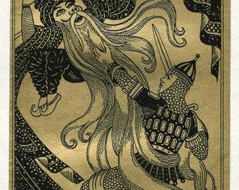 Ruslan Clung to the Wizard's Beard, Antique 1926 Russian Children's Fairy Tale 6x10 Metallic Art Deco Bookplate Print, FREE SHIPPING