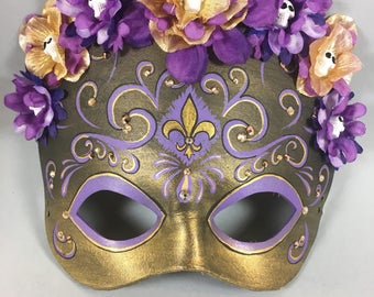 Deluxe Flower Crown Mardi Gras Purple and Gold Leather Masquerade Mask, OOAK