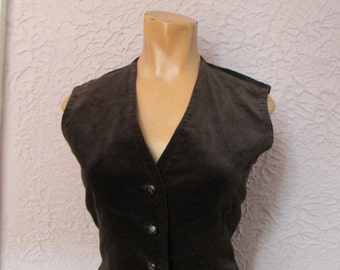 70s Vintage Black Velvet Vest Waistcoat medium