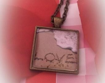 LOVE Written In The Sand Custom Photo Pendant