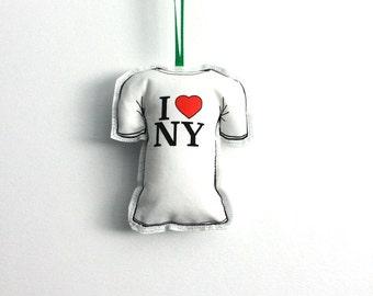 Christmas Tree decoration: New York love t-shirt Christmas ornament- stocking stuffers under 10