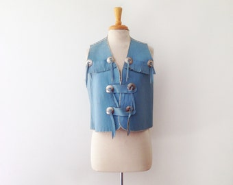 SOLD 1970s powder blue leather vest with fringe size medium