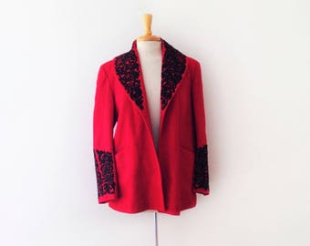 SOLD 1940s Austrian/ Bavarian embroidered red wool jacket size medium