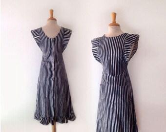 1960s MARIMEKKO Striped Mari-essu apron dress designed by Vuokko Nurmesniemi