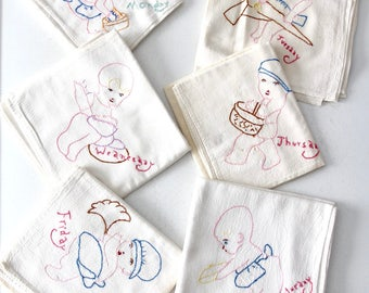 vintage embroidered kitchen towels, Day of the Week tea towels