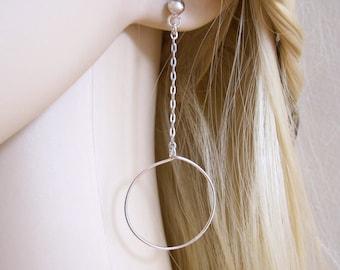 Circles chain sterling silver long dangle earrings, modern design geometric stud earrings