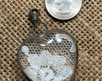 Domed Glass Heart pendant with Vintage Lace-Large