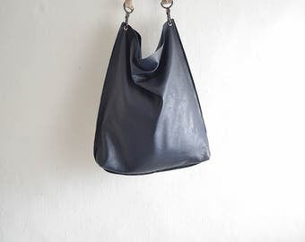 Plain Leather Hobo Tote in Soft Slouchy Leather - Woven or Plain Strap - Made to Order