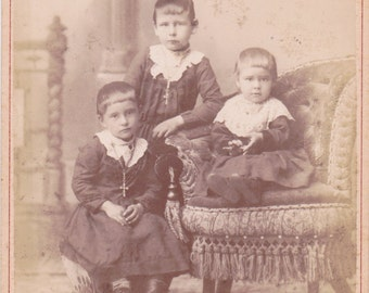 Victorian Boys in Dresses- 1800s Antique Photograph- Three Brothers- Crucifix Rosary- Mason City, Iowa- Cabinet Photo- Paper Ephemera