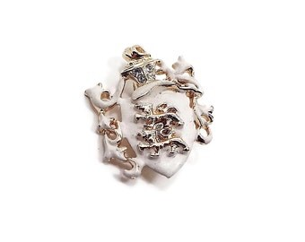 Cream Enameled Rhinestone Lion Crest Shield Vintage Brooch Pin Gold Tone Mid Century