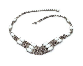 Vintage Rhinestone Choker Necklace White and Clear Adjustable Length with Hook Clasp Mid Century 1960s 60s Mod Jewelry