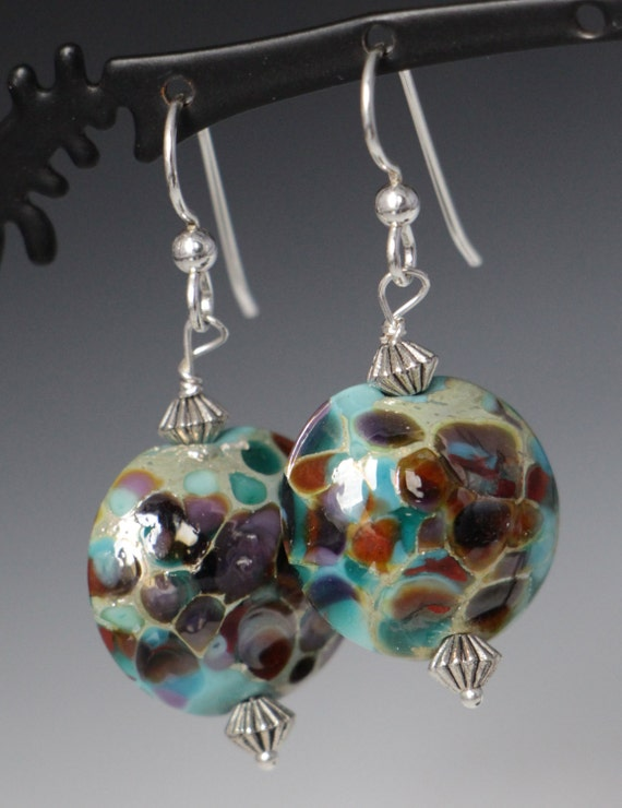 Turquoise Earth Tone Lentil Lampworking Sterling Earrings