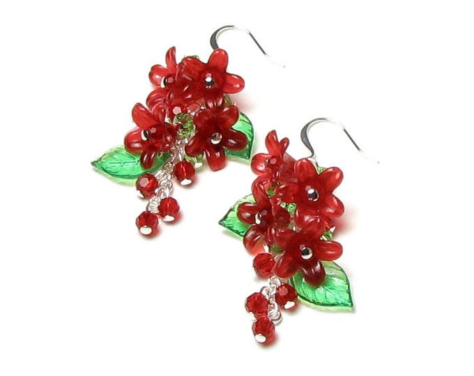 Red Flower Cluster Earrings Crimson Floral Bell Green Leaves Round Berry Bud Holiday Jewelry Long Silver Dangle Earrings For Women Gift Box