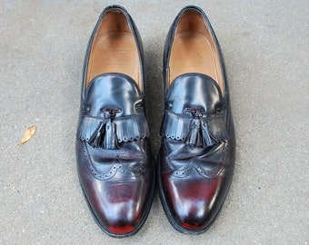 Vintage Mens 12b Johnston & Murphy Aristocraft All Leather Loafers Wingtips Dress Shoes Oxfords Kiltie Frill Preppy Hipster Classic Designer
