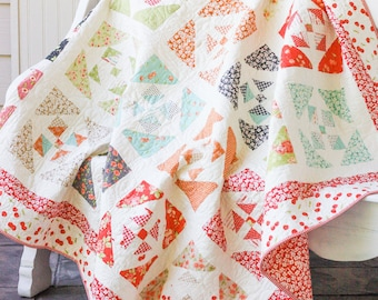 Window Garden Large Lap Quilt - Twin Size Coverlet - Farmhouse Fabric Collection