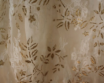 Vintage 80s Straight Cut Creme Lace with Gold Dress S/M