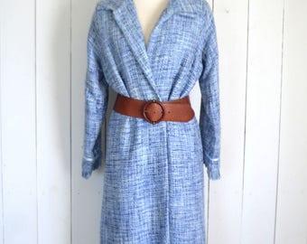 Mid Century Coat - Woven Overcoat - 1950s Vintage Jackie O Style - Womens Winter Jacket - Medium M