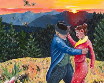 The Dancing Heart, GREETING CARD - sunset, landscape painting, dancers, love, bees, peonies, redwood trees