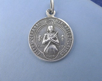"Saint Joan of Arc & Saint Michael Silver Antique Religious Medal Pendant on 18"" sterling silver rolo chain"