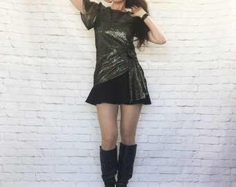 Vintage 80s Metallic Micro Mini Cocktail Dress Ruffled Black Asymm Sash Rosette S Bell Sleeves Flared