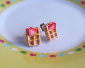Stud Waffle Earrings ( strawberry waffle miniature waffle mini waffle earrings polymer clay jewelry kawaii jewelry kids jewelry )
