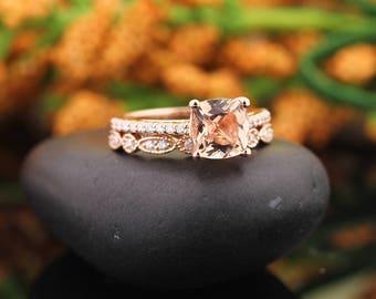 AAA Morganite Engagement Ring Set , Diamond Wedding Ring Set  with Art deco wedding band In 14k Rose Gold 7mm Cushion Gem1446